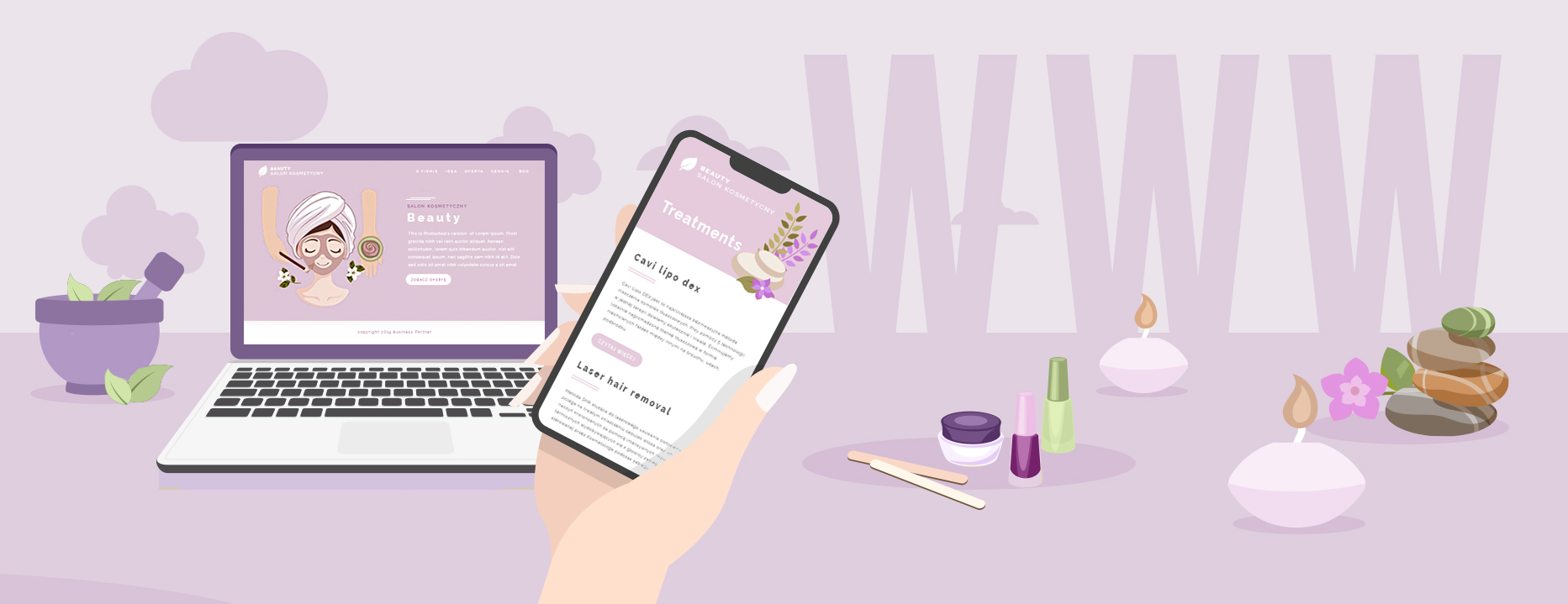 websites for aesthetic cosmetology salons
